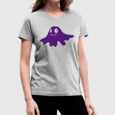 cute BLOB pimple monster - Women's V-Neck T-Shirt