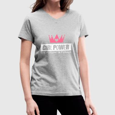 Girl Power Woman Power - Women's V-Neck T-Shirt