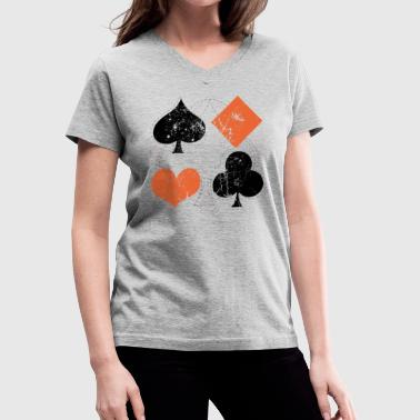 vintage poker playing cards - Women's V-Neck T-Shirt