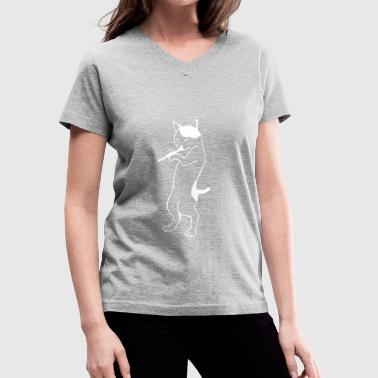 Playing Flute Flute - cat playing flute - Women's V-Neck T-Shirt