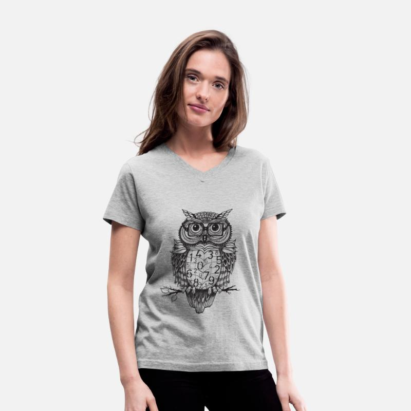 Cool T-Shirts - Owl sketch 1 - Women's V-Neck T-Shirt gray