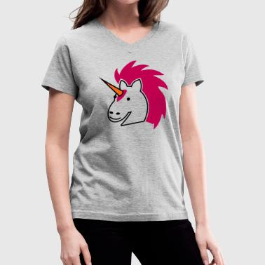 punk unicorn with bright hair - Women's V-Neck T-Shirt
