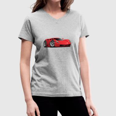 European Car Red Hot European Style Sports-Car Cartoon - Women's V-Neck T-Shirt
