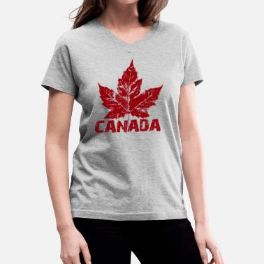 Trendy Canada Cool Canada Souvenir Distressed Maple Leaf Art for - Women's V-Neck T-Shirt