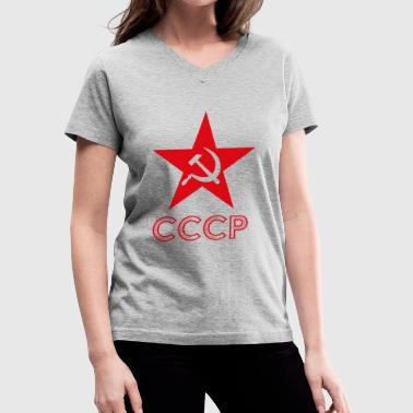 CCCP Hammer Sickle Star - Women's V-Neck T-Shirt