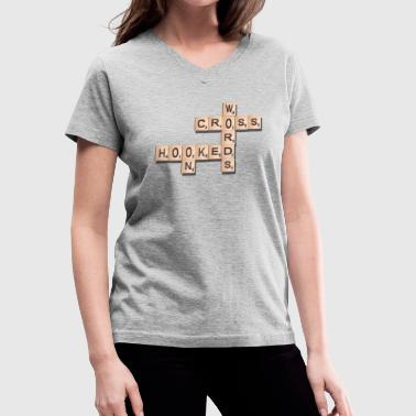 Crossword Puzzle Hooked On Crosswords - Women's V-Neck T-Shirt