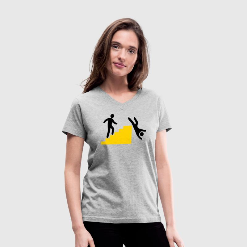 WARNING man jumping off the stairs funny - Women's V-Neck T-Shirt