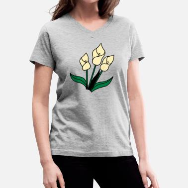 Ripped Emo white lily flowers for remembrance - Women's V-Neck T-Shirt