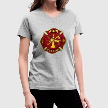 Diamond Plate Steel Firefighter Maltese Cross - Women's V-Neck T-Shirt