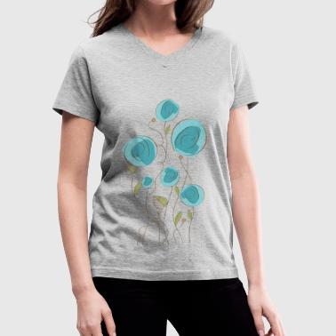 flowers teal - Women's V-Neck T-Shirt