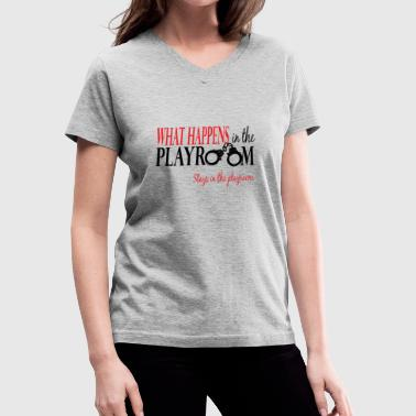 Playroom 2 color logo - Women's V-Neck T-Shirt