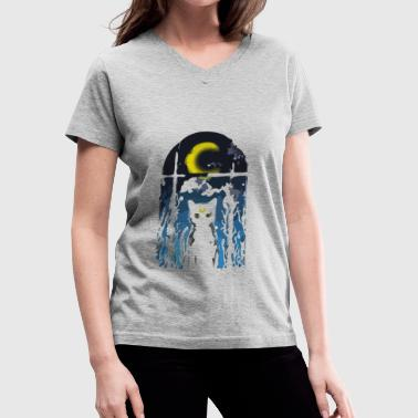 Visitor MOON VISITOR - Women's V-Neck T-Shirt