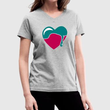 dripping chocolate  and blue heart - Women's V-Neck T-Shirt