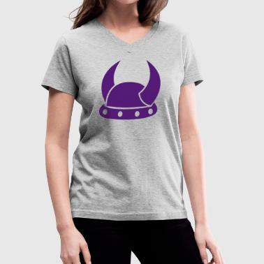 VIKING HORNS HELMET medieval helmets - Women's V-Neck T-Shirt