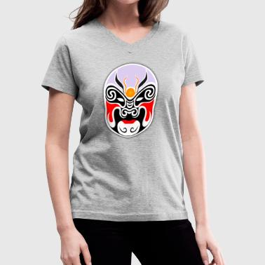 japanese mask - Women's V-Neck T-Shirt