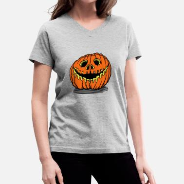 Halloween Pumpkin halloween pumpkin gold - Women's V-Neck T-Shirt