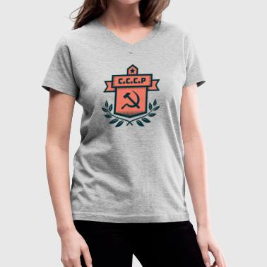Hammer Sickle Badge CCCP - Women's V-Neck T-Shirt