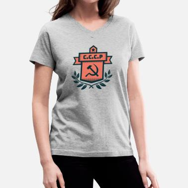 Cccp Hammer And Sickle Hammer Sickle Badge CCCP - Women's V-Neck T-Shirt