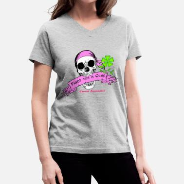 Breast Scroll Fight For a Cure Skull Scroll Pink - Women's V-Neck T-Shirt