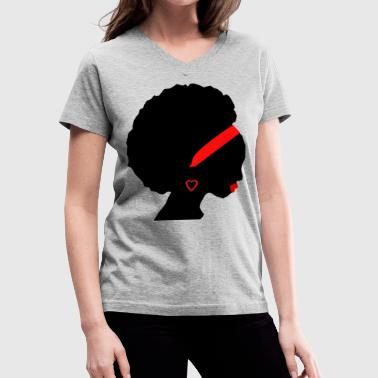 African American Woman in red - Women's V-Neck T-Shirt