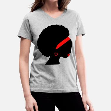 Silhouette African American Woman in red - Women's V-Neck T-Shirt