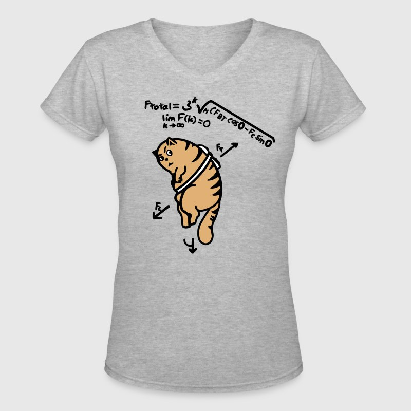 Math Cat - Anti-Gravity Cat on Toast - Women's V-Neck T-Shirt