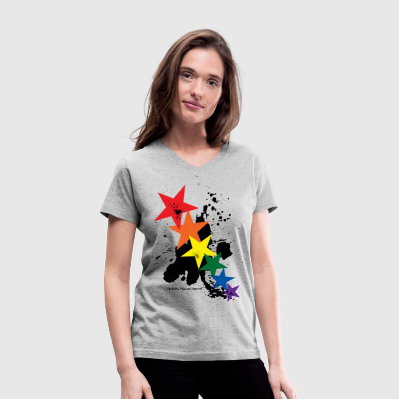 Rainbow Stars - Women's V-Neck T-Shirt