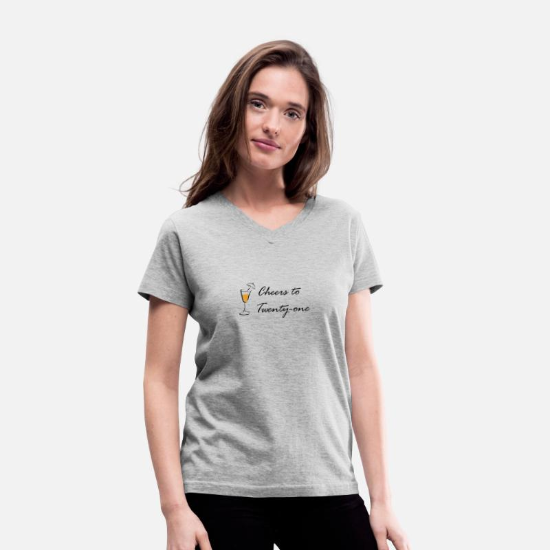 Turning 21 T-Shirts - cheers to 21 - Women's V-Neck T-Shirt gray