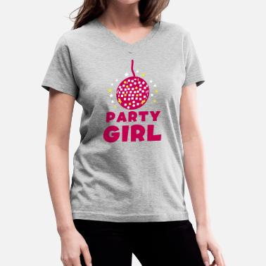 Stars Glitter PARTY GIRL with funky glitter ball and stars - Women's V-Neck T-Shirt