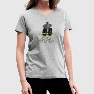 Save the 1% - Tuxedo Elephant Rolling In It - Women's V-Neck T-Shirt