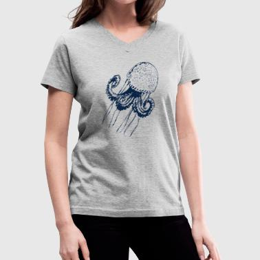 jellyfish jelly fish octopus medusa polyp marine  - Women's V-Neck T-Shirt