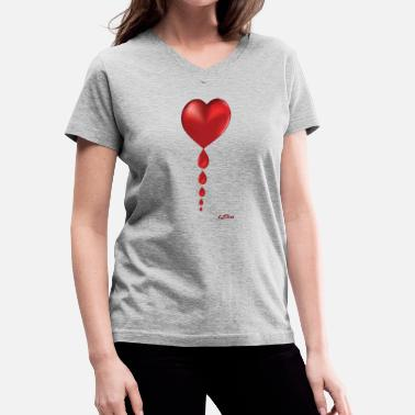 Trail Of Tears Dripping Heart with logo - Women's V-Neck T-Shirt