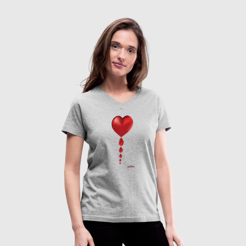Dripping Heart with logo - Women's V-Neck T-Shirt