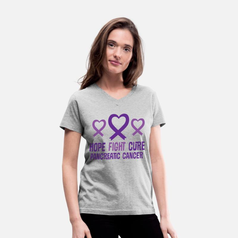 Event T-Shirts - Pancreatic Cancer Hope Fight Cure Ribbon - Women's V-Neck T-Shirt gray