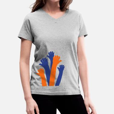 Multiculturalism reaching hands diversity and understanding multicultural - Women's V-Neck T-Shirt