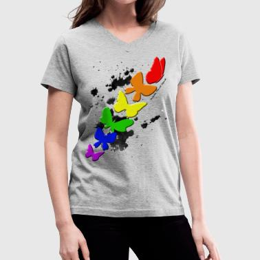Rainbow Butterflies  By: Perfectly Flawed Apparel - Women's V-Neck T-Shirt
