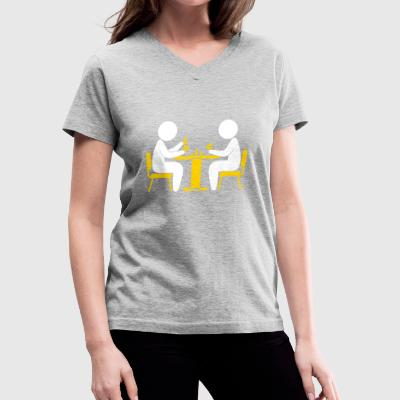 A Poker Player Looks At His Cards - Women's V-Neck T-Shirt