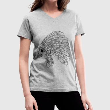 Native American Indian Skull - Women's V-Neck T-Shirt
