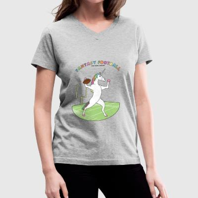 Fantasy Football Unicorn Outline - Women's V-Neck T-Shirt