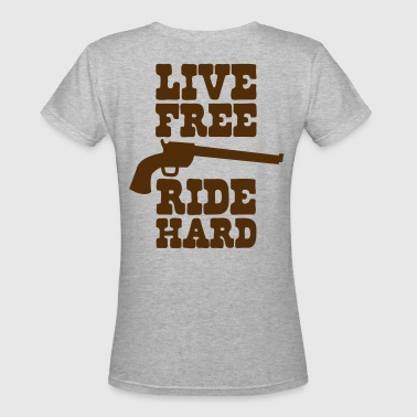 live free ride hard - Women's V-Neck T-Shirt