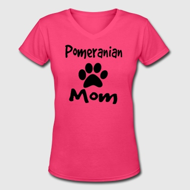 pomeranian mom - Women's V-Neck T-Shirt