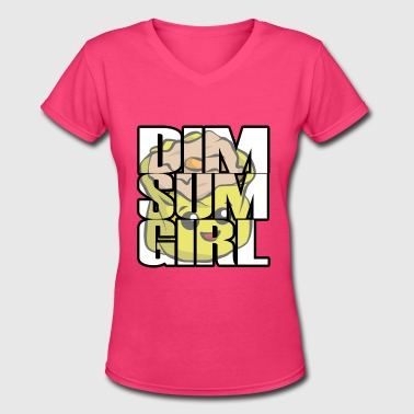 Dim Sum Girl - Women's V-Neck T-Shirt