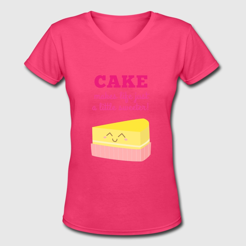 cute cake makes life just a little sweeter - Women's V-Neck T-Shirt
