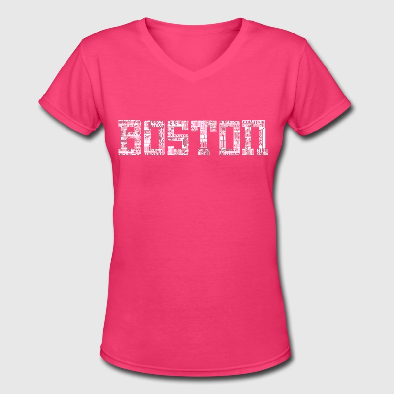 Boston by Words Clothing Apparel T-Shirts - Women's V-Neck T-Shirt