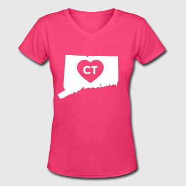 I Love Connecticut State - Women's V-Neck T-Shirt