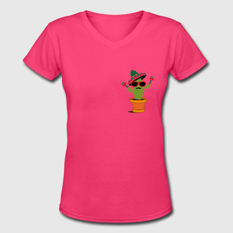 Cactus with sombrero and maracas  - Women's V-Neck T-Shirt