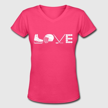Love Hockey Shirt - Women's V-Neck T-Shirt