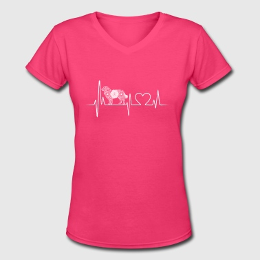 Bernese Mountain Dogs bernese mountain dog heartbeat - Women's V-Neck T-Shirt