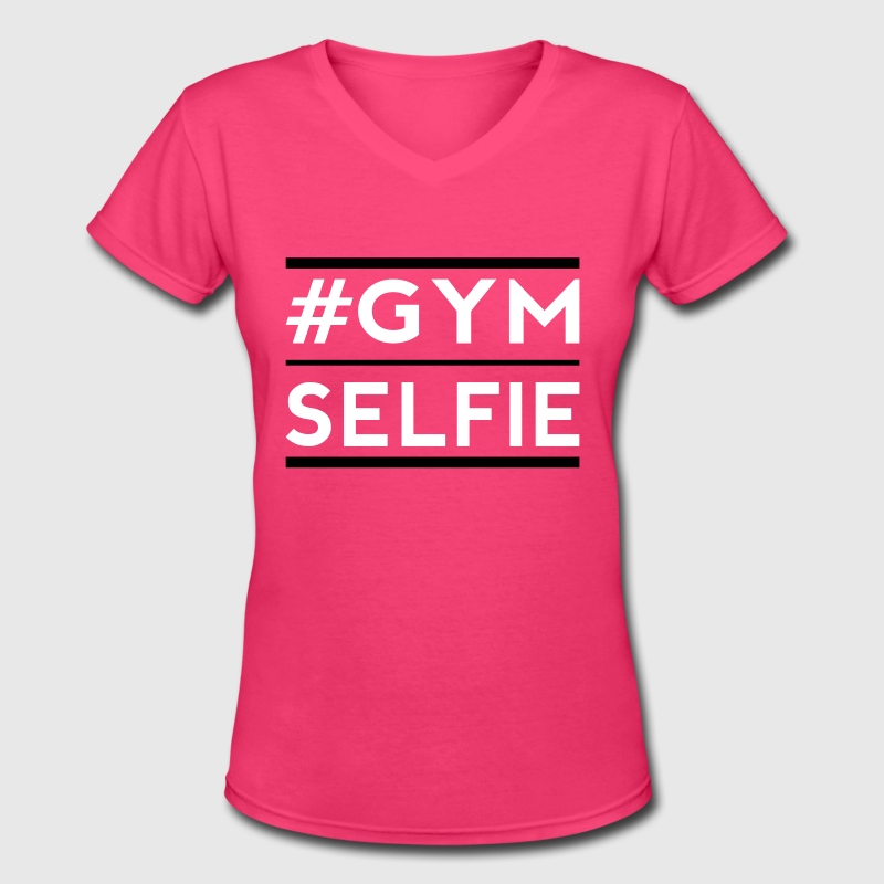 gym selfie - Women's V-Neck T-Shirt