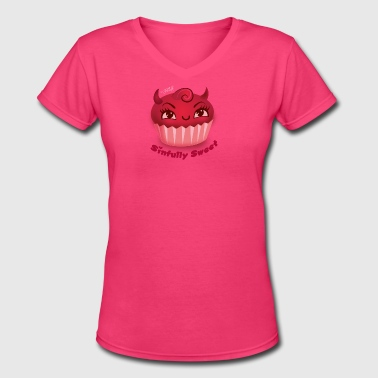 Cute Devil Cupcake - Sinfully Sweet - Women's V-Neck T-Shirt